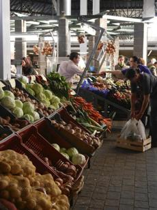 Produce stall in the Mercado de Graa, Ponta Delgada.